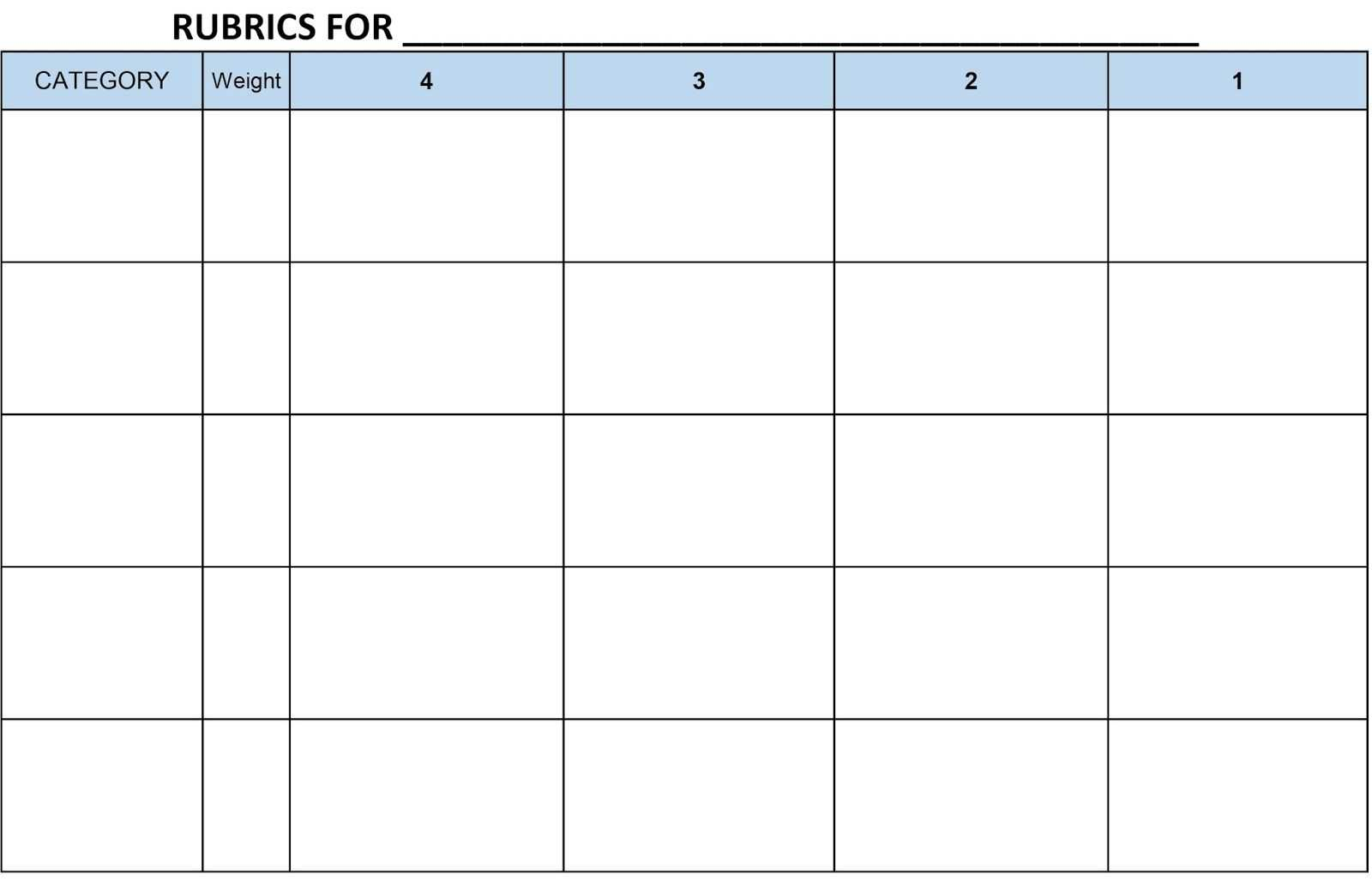 Image Result For Blank Rubric Template Editable | Rubrics with regard to Blank Rubric Template