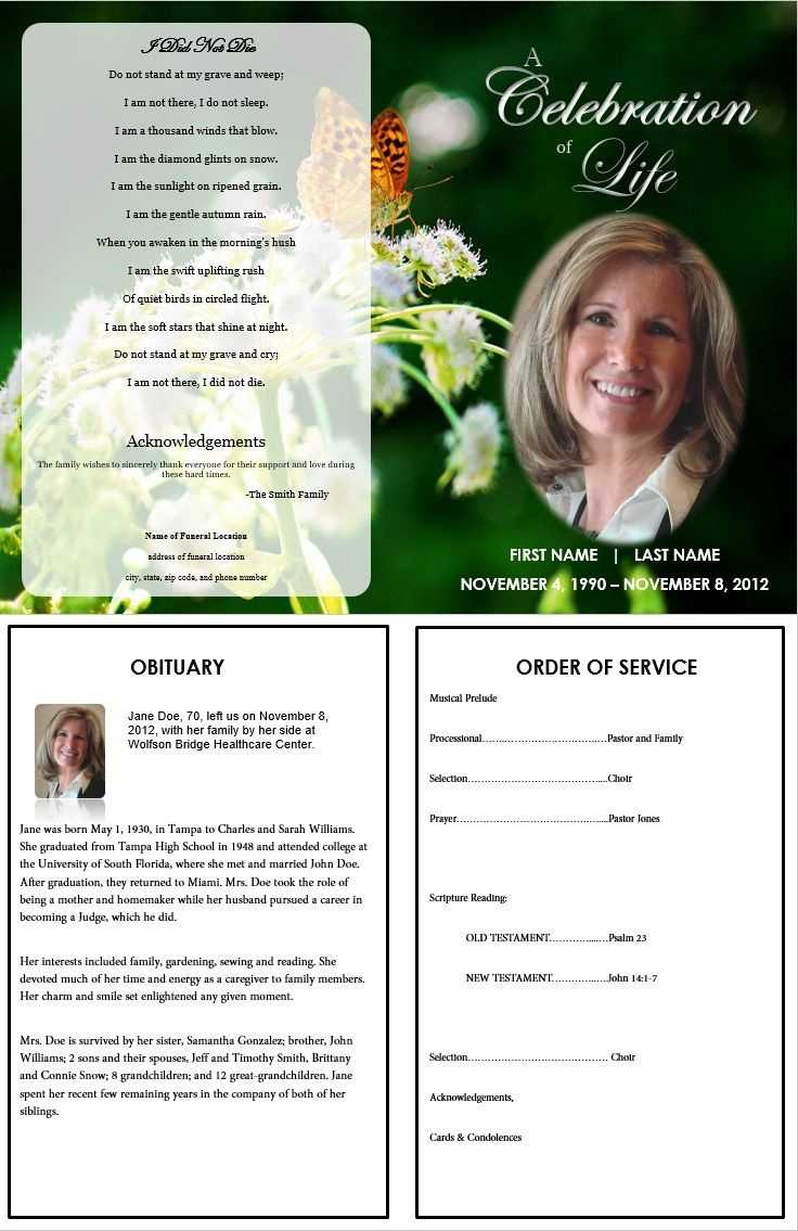 In Memoriam Cards Template Free Celebration Of Life Program with regard to Remembrance Cards Template Free