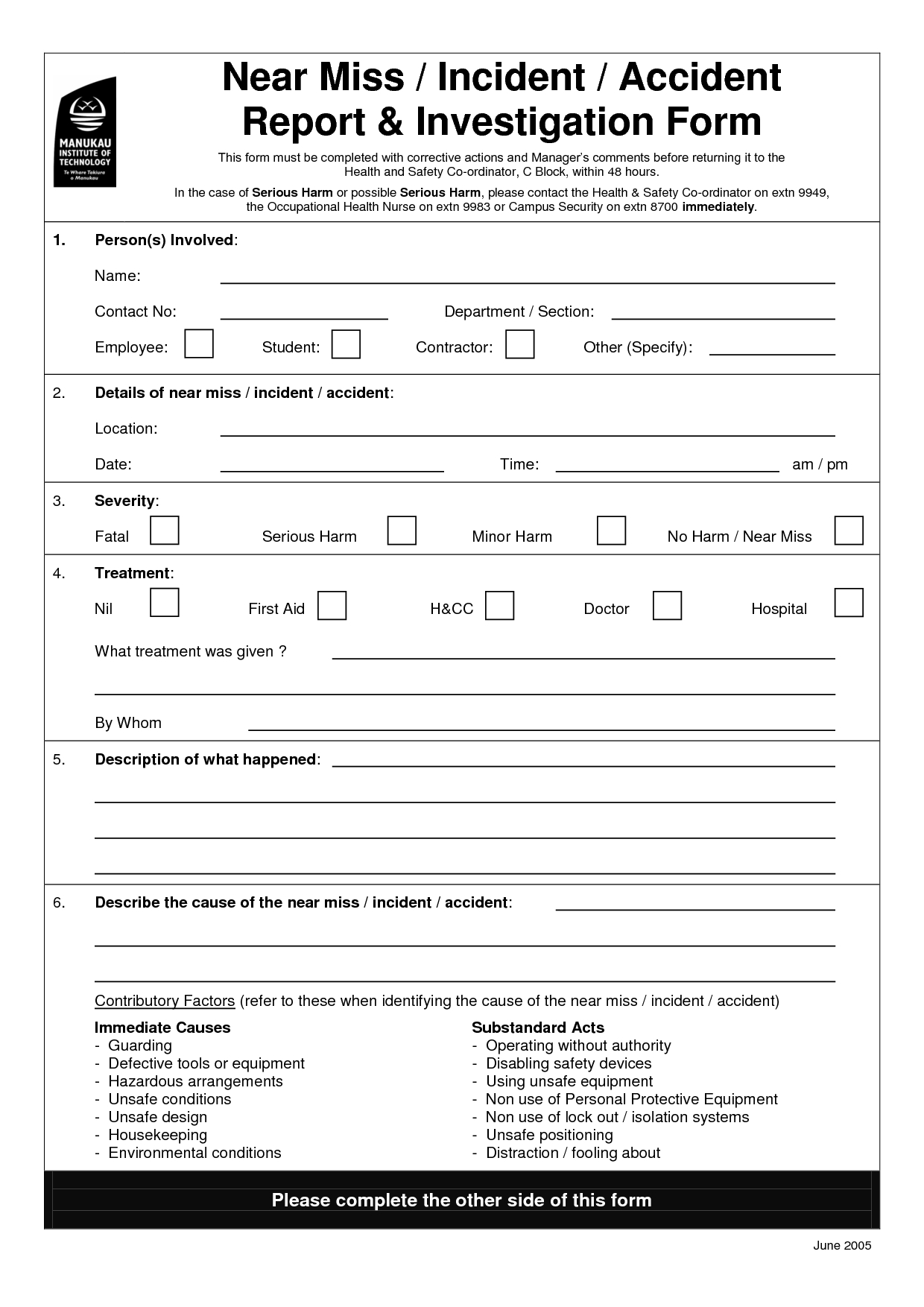 Incident Investigation Form Pdf Accident Template Word Regarding Ohs Incident Report Template Free