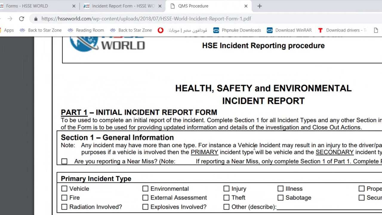 Incident Report Form - Hsse World Regarding Health And Safety Incident Report Form Template