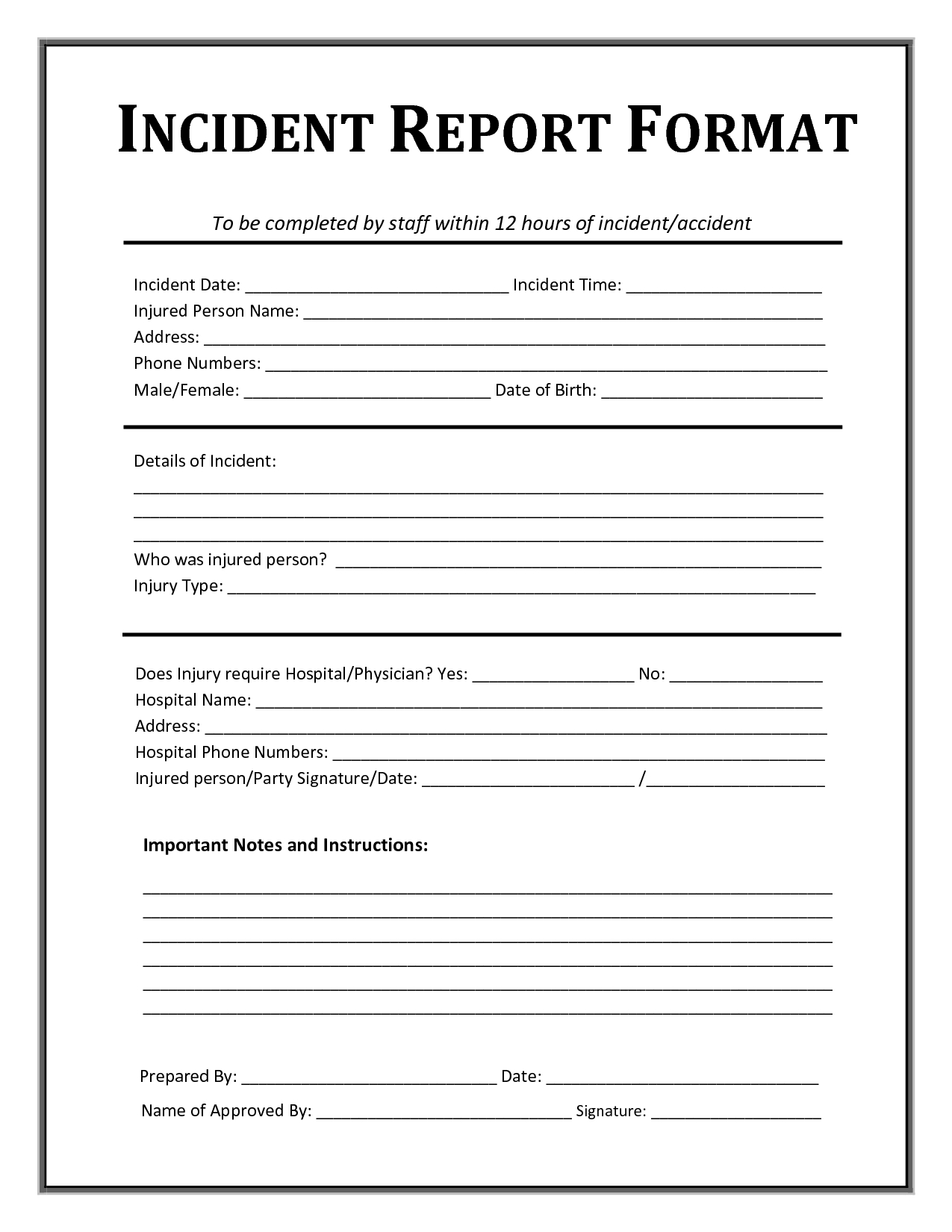 Incident Report Template | Incident Report, Incident Report For Incident Report Form Template Doc