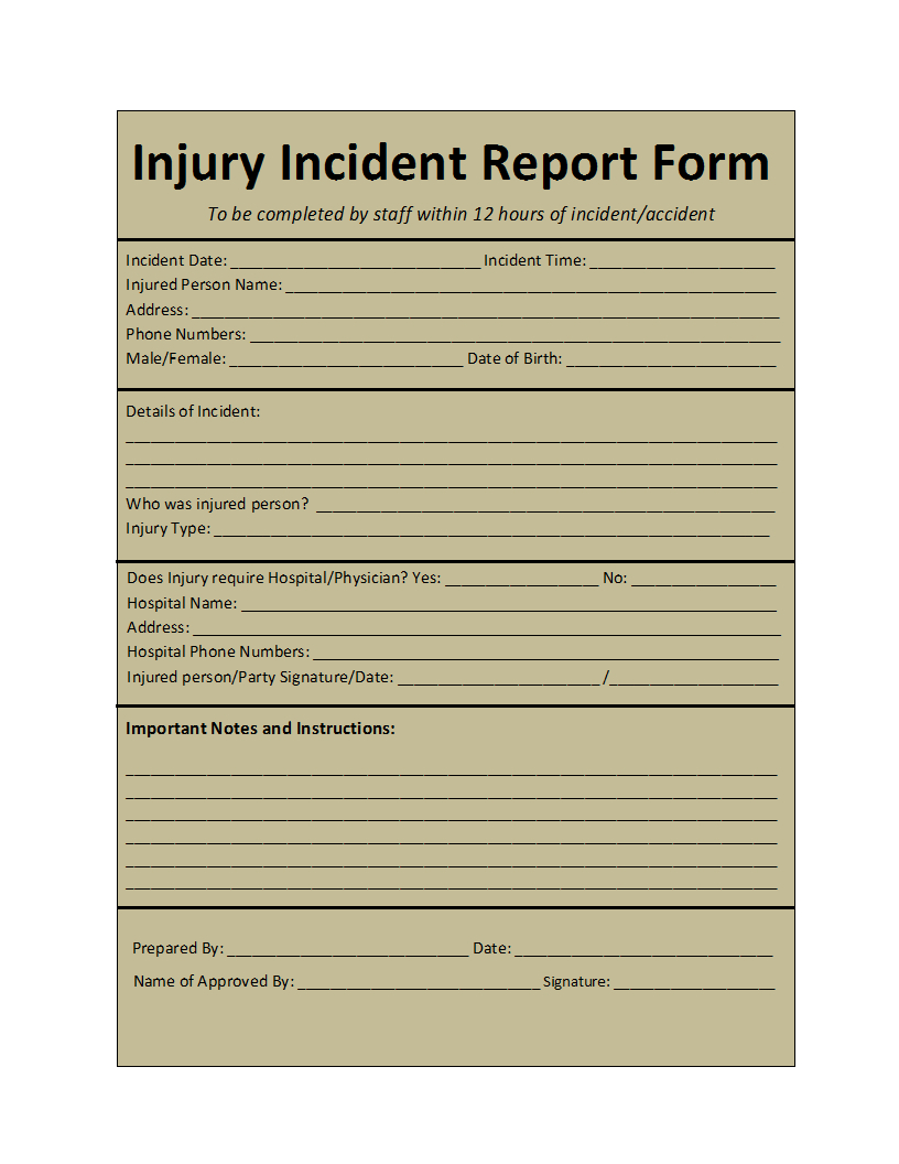 Incident Report Template intended for Insurance Incident Report Template