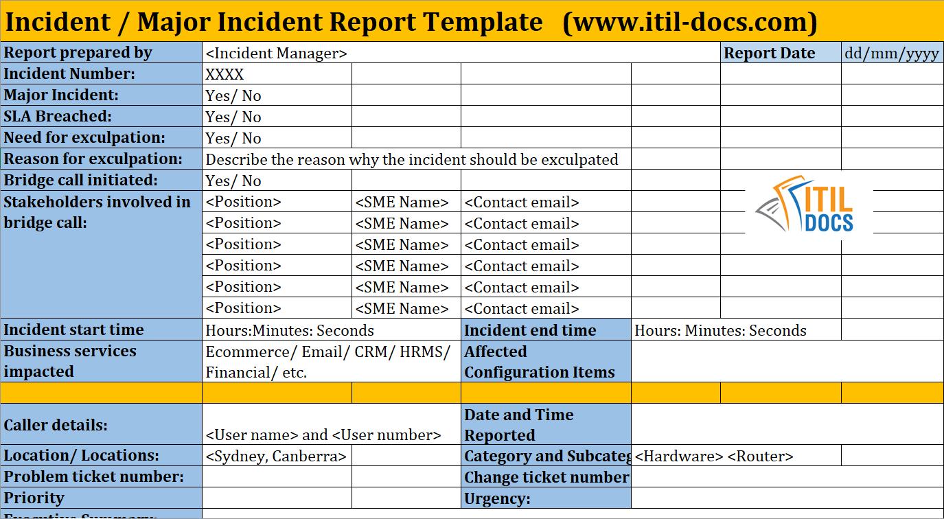 Incident Report Template | Major Incident Management – Itil Docs For It Major Incident Report Template