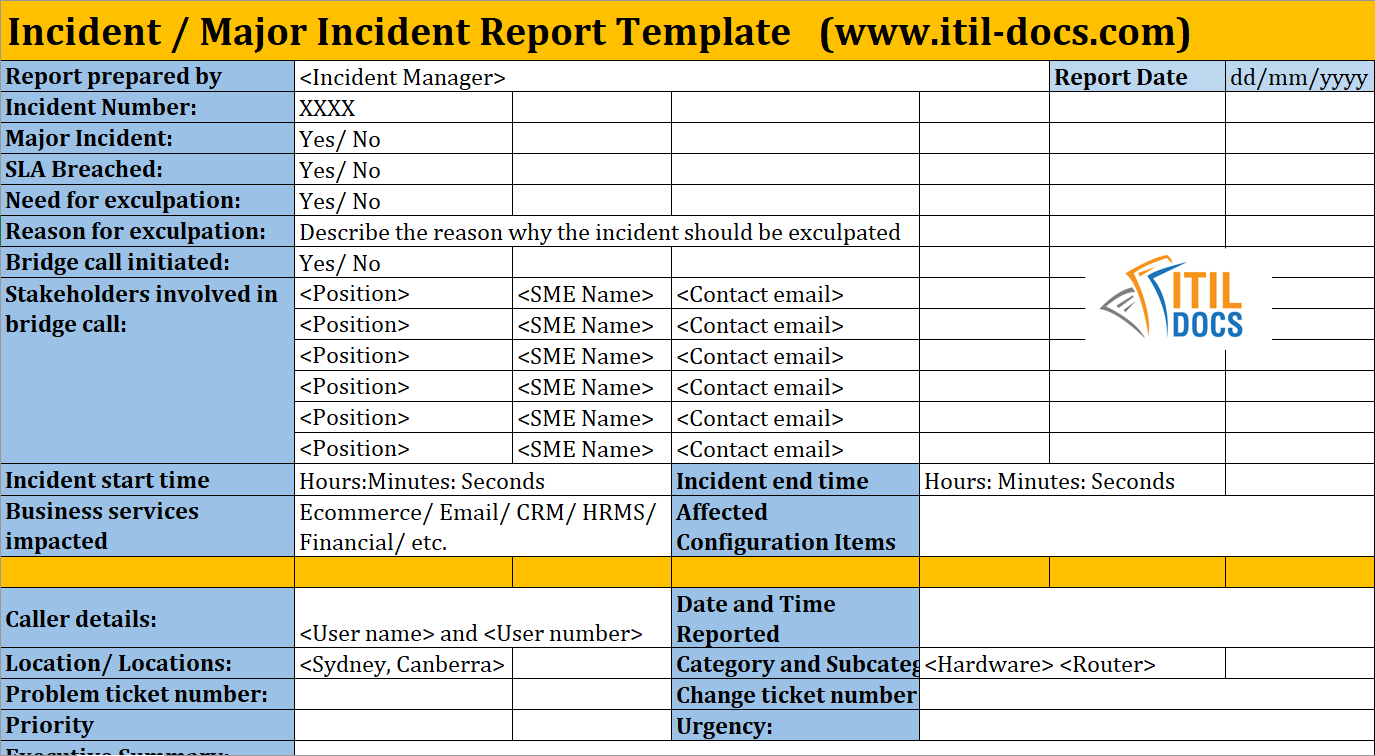 Incident Report Template | Major Incident Management – Itil Docs Regarding Incident Report Template Itil