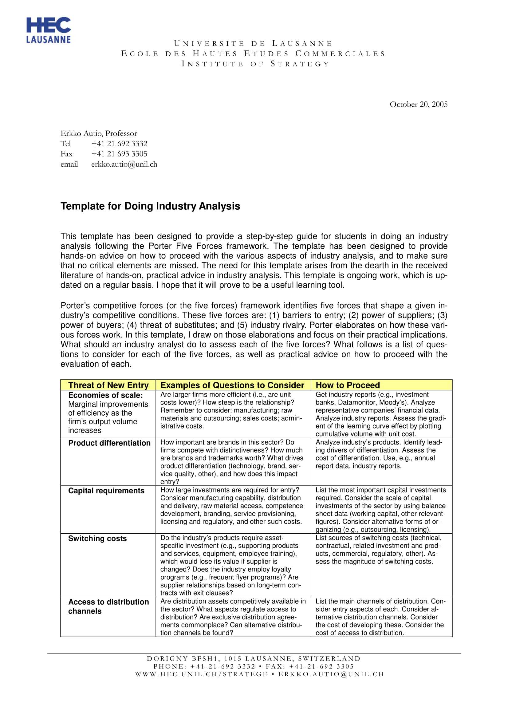 Industry Analysis Report Template - Atlantaauctionco Inside Industry Analysis Report Template