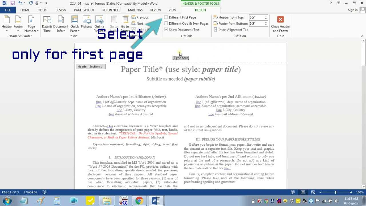 Insert Header Footer In Ms Word For Ieee Camera Ready Manuscript Within Ieee Template Word 2007