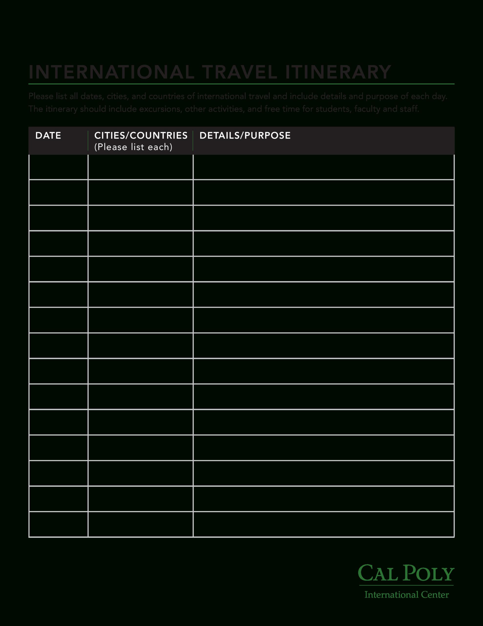 International Itinerary   Templates At Allbusinesstemplates throughout Blank Trip Itinerary Template