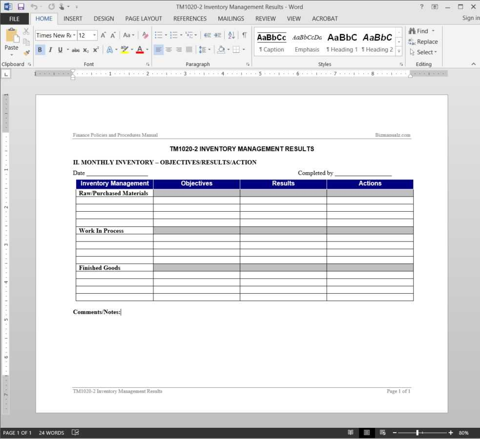 Inventory Management Report Template | Tm1020 2 Within It Management Report Template