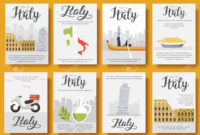 Italy Vector Brochure Cards Flat Set. Country Travel Template.. in Country Brochure Template