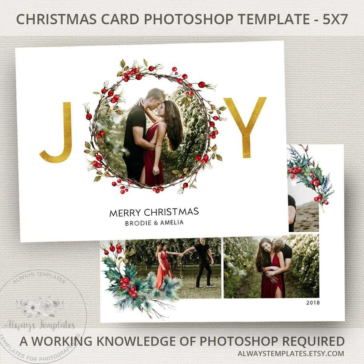 Joy Photo Christmas Card Template, Joy Christmas Card Inside Christmas Photo Card Templates Photoshop