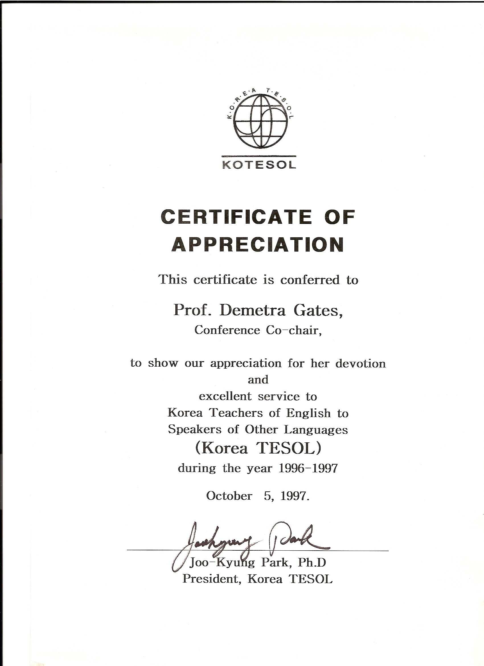 Kotesol Presidential Certificate Of Appreciation (1997 Regarding Army Certificate Of Appreciation Template