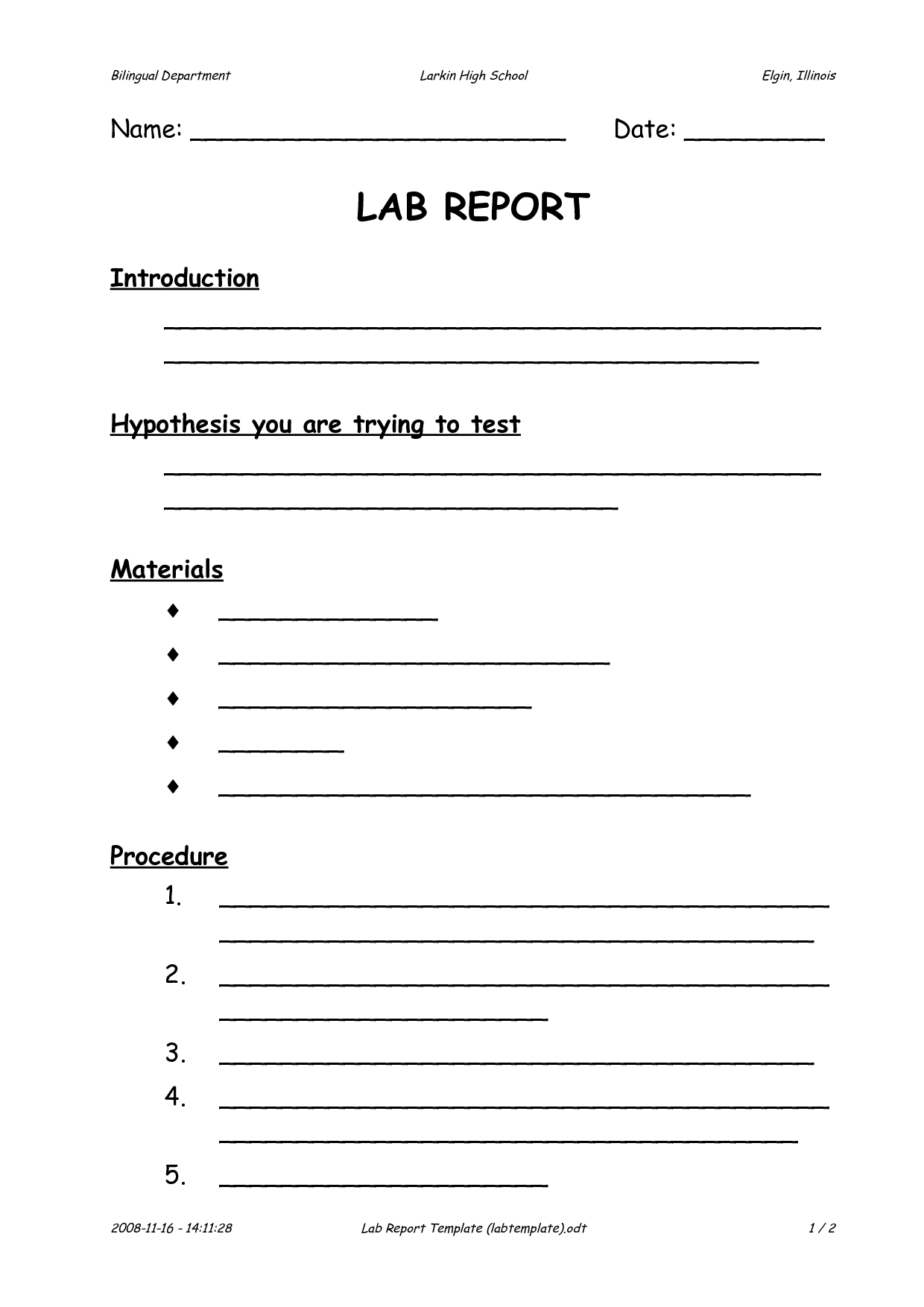 Lab Report Template Pdfnvh41087 7Glt4Bds | Lab Report regarding Lab Report Template Middle School