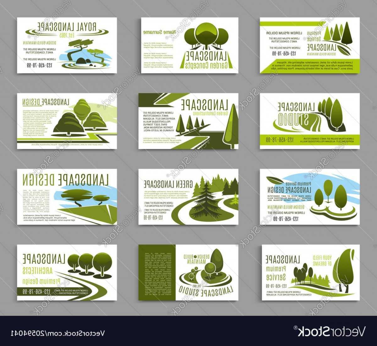 Landscape Design Studio Business Card Template Vector   Soidergi regarding Landscaping Business Card Template