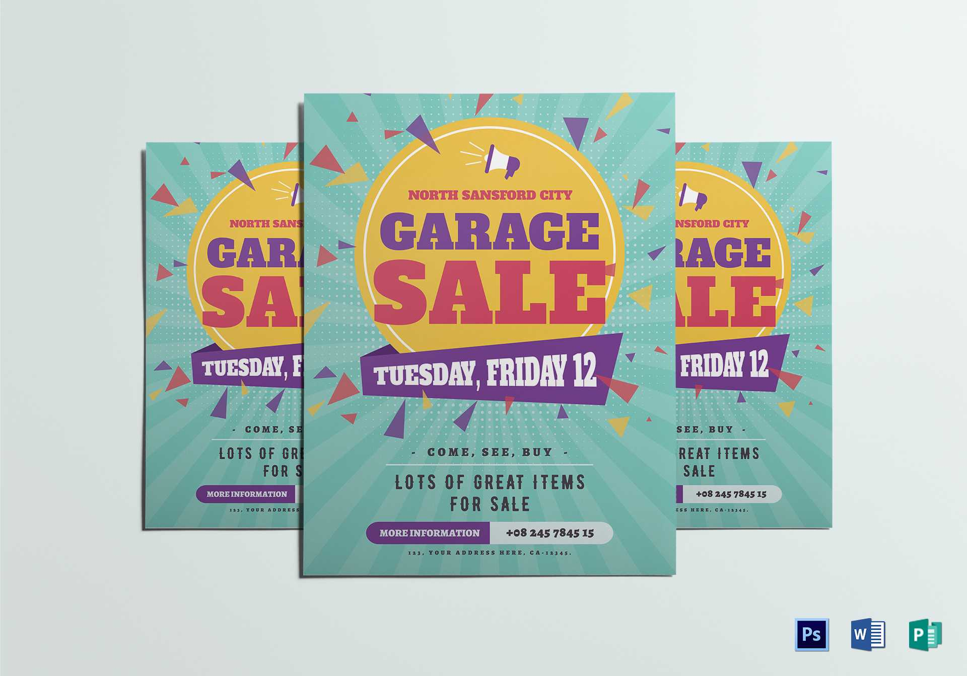 Large Garage Sale Flyer Template pertaining to Yard Sale Flyer Template Word