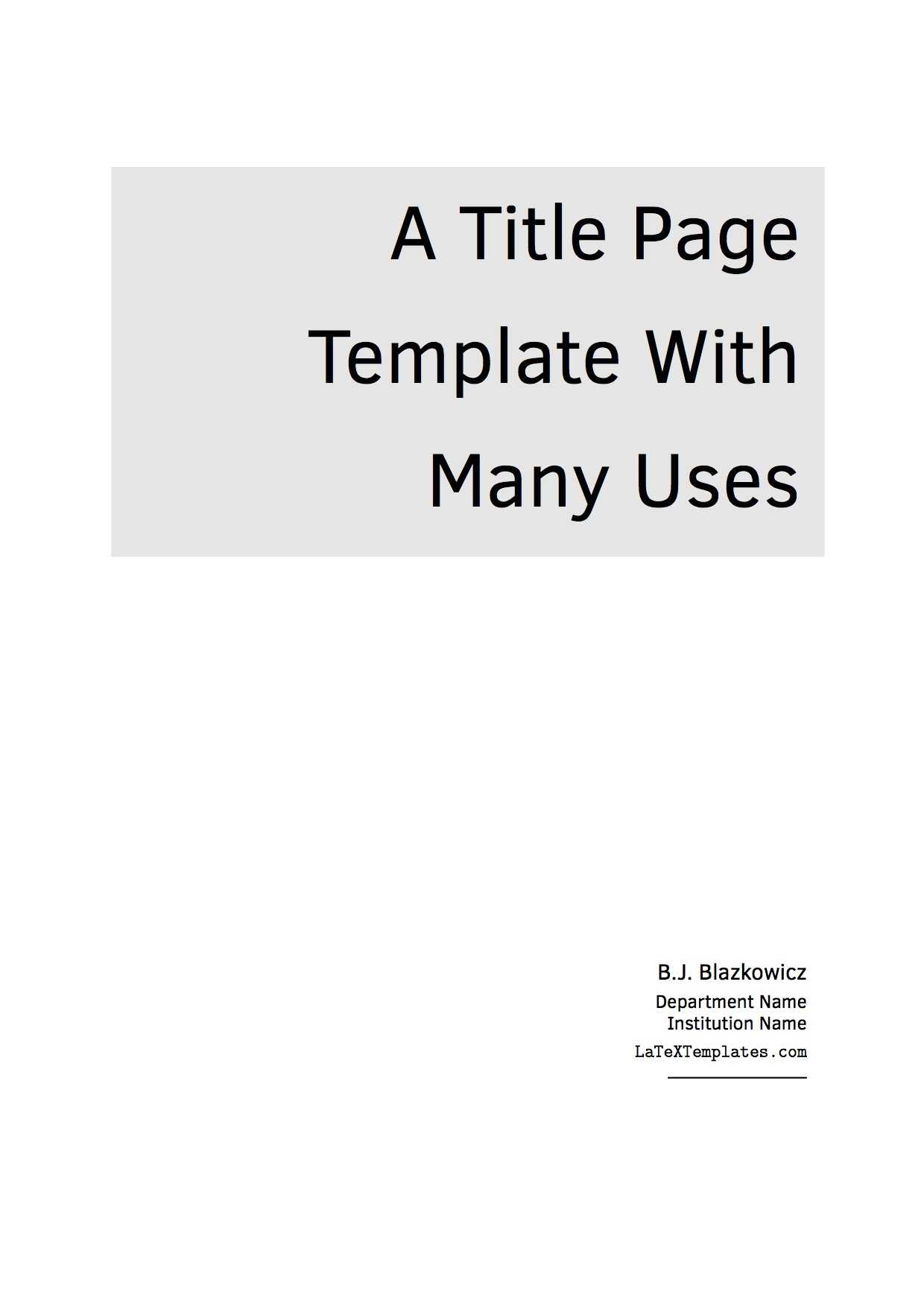 Latex Templates » Title Pages with regard to Report Content Page Template