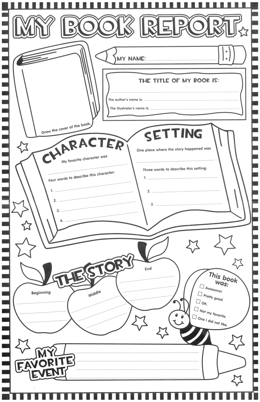 Literacy Activity – To Fill Out After Reading One Of The With One Page Book Report Template