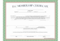 Llc Membership Certificate – Free Template in Share Certificate Template Companies House