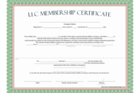 Llc Membership Certificate - Free Template pertaining to Ownership Certificate Template