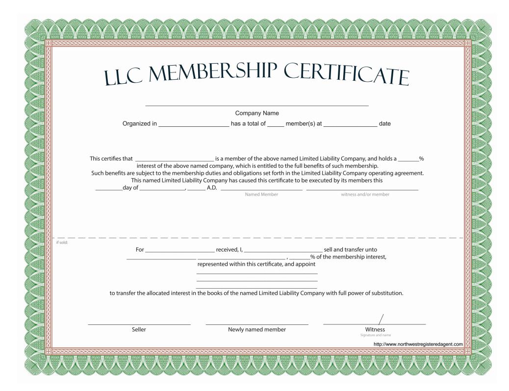 Llc Membership Certificate – Free Template Pertaining To Ownership Certificate Template