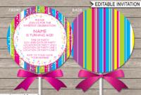 Lollipop Invitation Template – Pink inside Blank Candyland Template