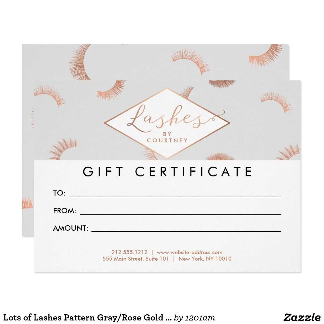 Lots Of Lashes Pattern Gray/rose Gold Gift Card   Zazzle regarding Salon Gift Certificate Template
