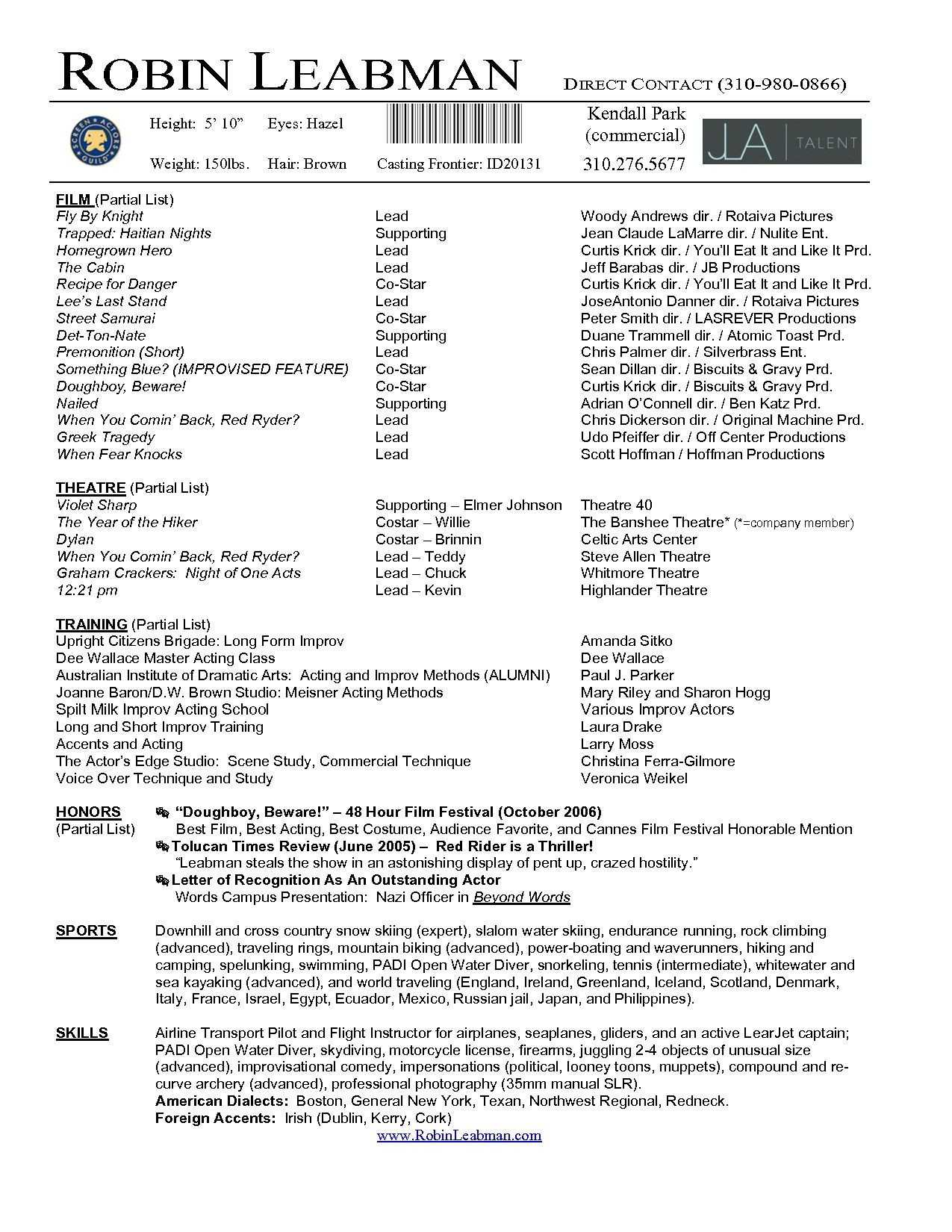 Lovely Acting Resume Template For Microsoft Word - Superkepo regarding Theatrical Resume Template Word