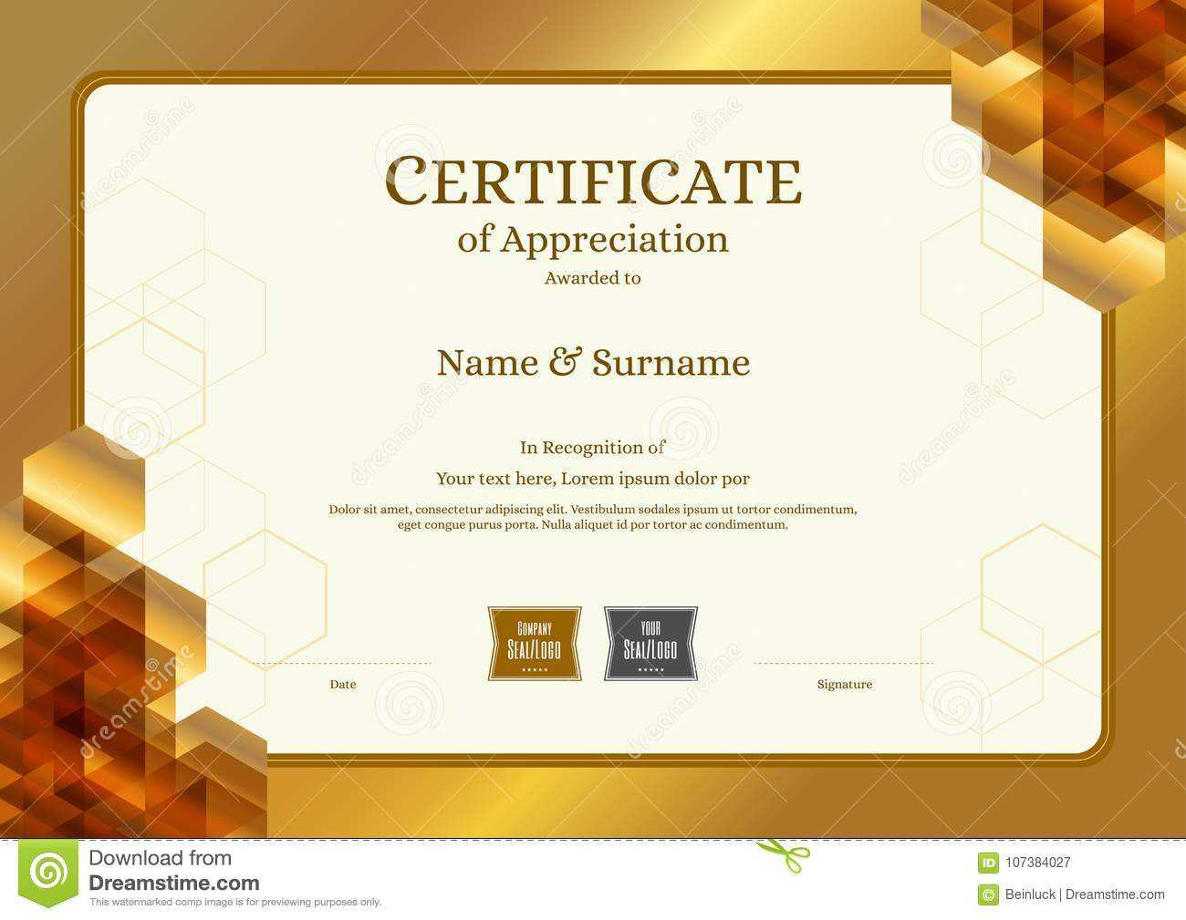 Luxury Certificate Template With Elegant Border Frame with regard to Elegant Certificate Templates Free