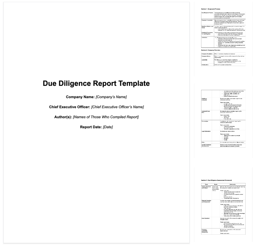 M&a Due Diligence Report [Sample Template + Excel Checklist] With Regard To Vendor Due Diligence Report Template