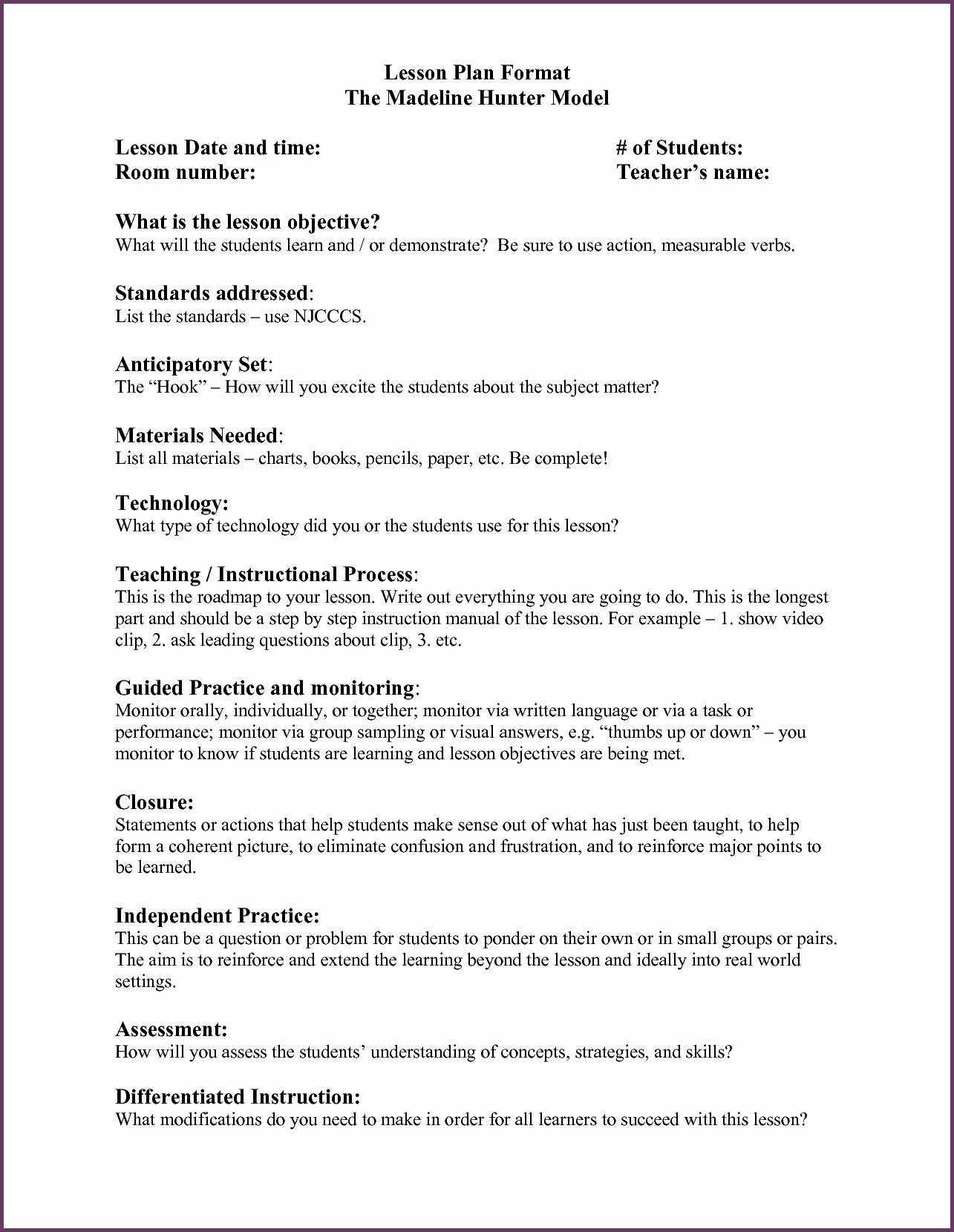 Madeline Hunter Lesson Plan Template Letter Sample Example inside Madeline Hunter Lesson Plan Blank Template