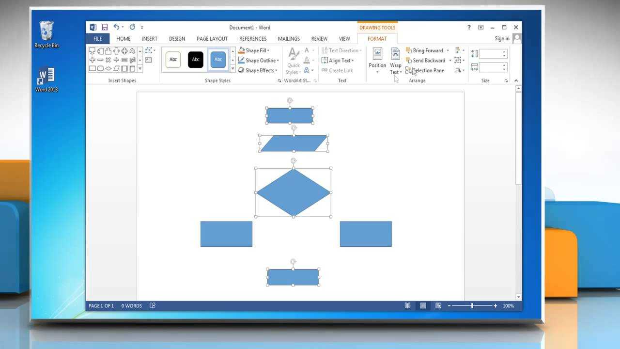 Make A Flowchart In Microsoft Word 2013 throughout Microsoft Word Flowchart Template