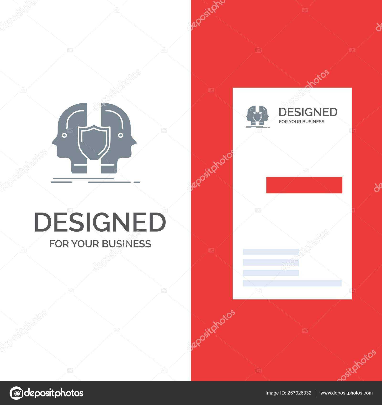 Man Face Dual Identity Shield Grey Logo Design Business Card Within Shield Id Card Template