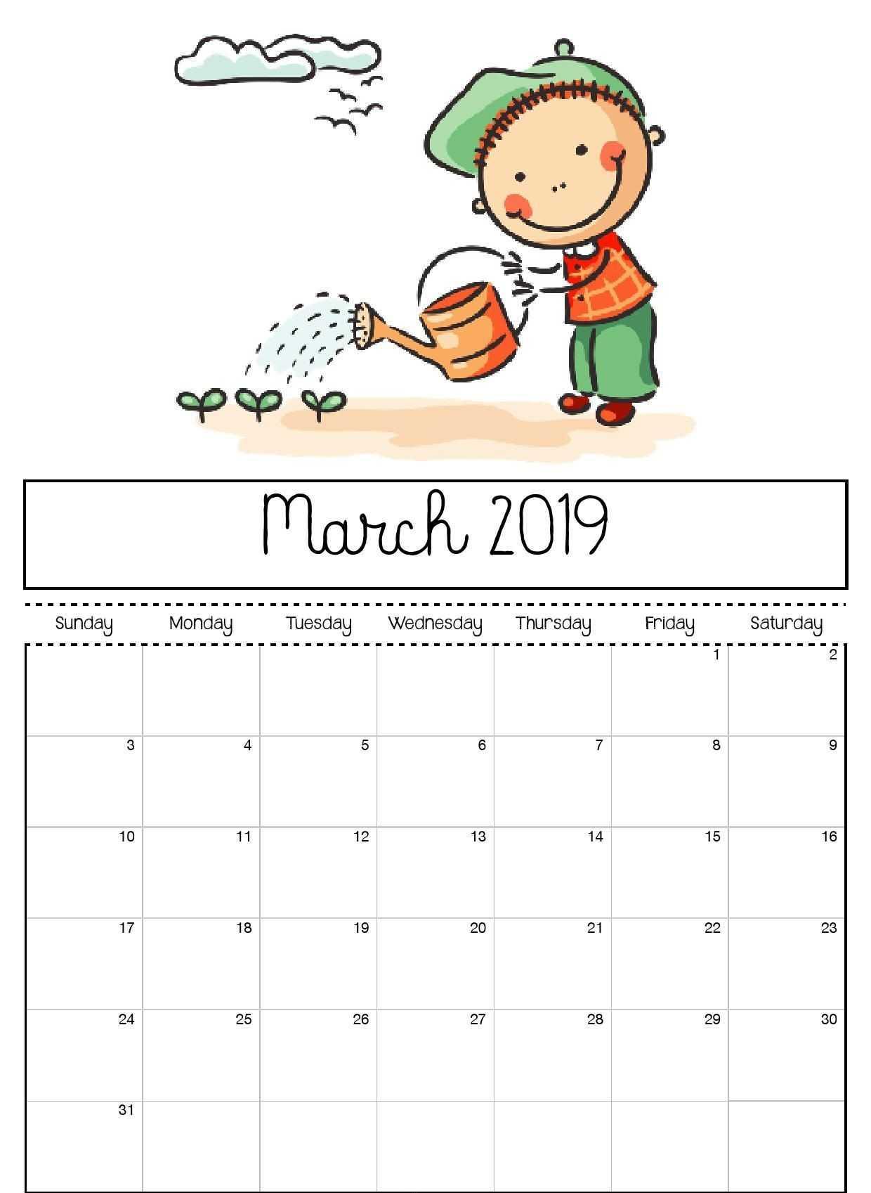 March 2019 Printable Calendar For Kids | Kids Calendar In Blank Calendar Template For Kids