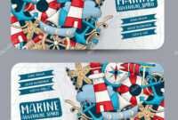 Marine Nautical Travel Concept Horizontal Banner Template In Nautical Banner Template