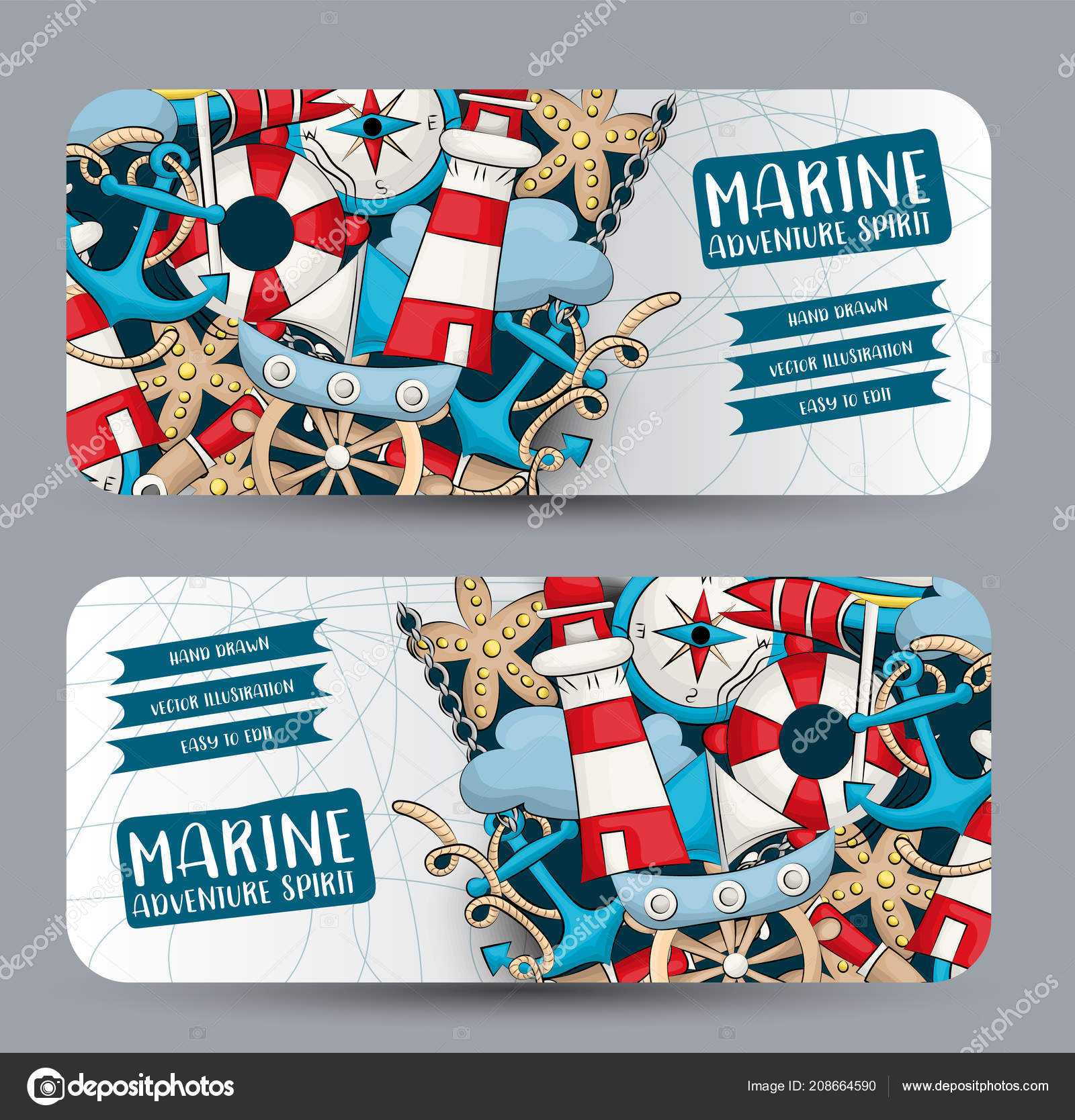 Marine Nautical Travel Concept Horizontal Banner Template In Nautical Banner Template