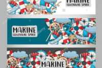 Marine Nautical Travel Concept. Horizontal Banner Template Throughout Nautical Banner Template