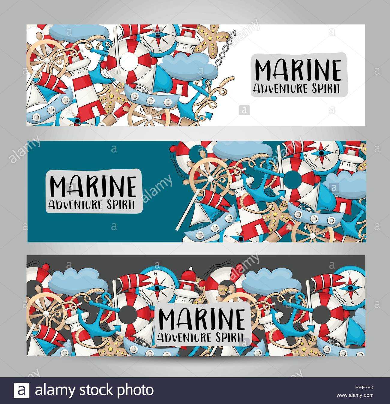 Marine Nautical Travel Concept. Horizontal Banner Template Throughout Nautical Banner Template