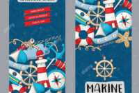 Marine Nautical Travel Concept. Vertical Banner Template Set In Nautical Banner Template