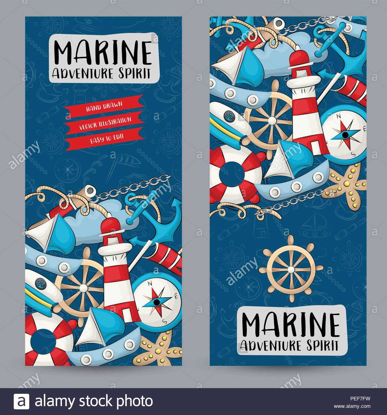 Marine Nautical Travel Concept. Vertical Banner Template Set In Nautical Banner Template