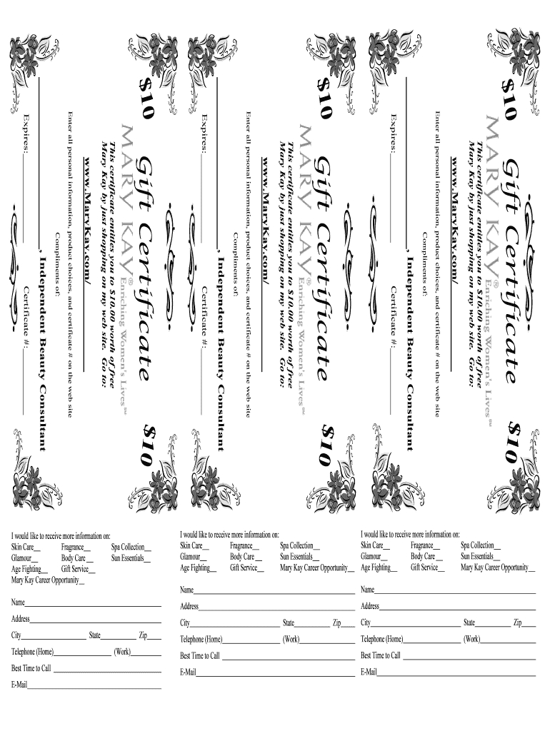 Mary Kay Gift Certificate Printable - Fill Online, Printable throughout Mary Kay Gift Certificate Template