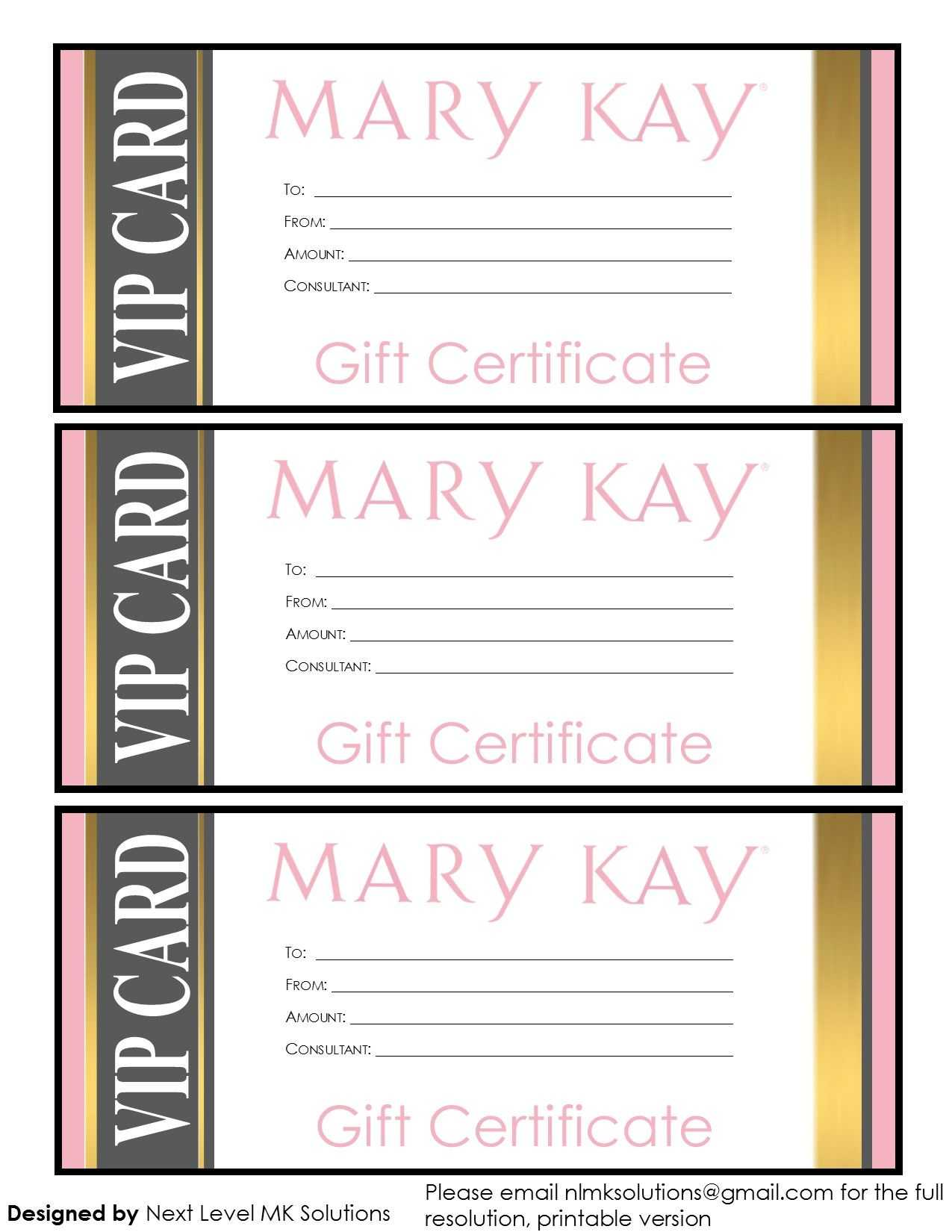 Mary Kay Gift Certificates - Please Email For The Full Pdf With Regard To Mary Kay Gift Certificate Template