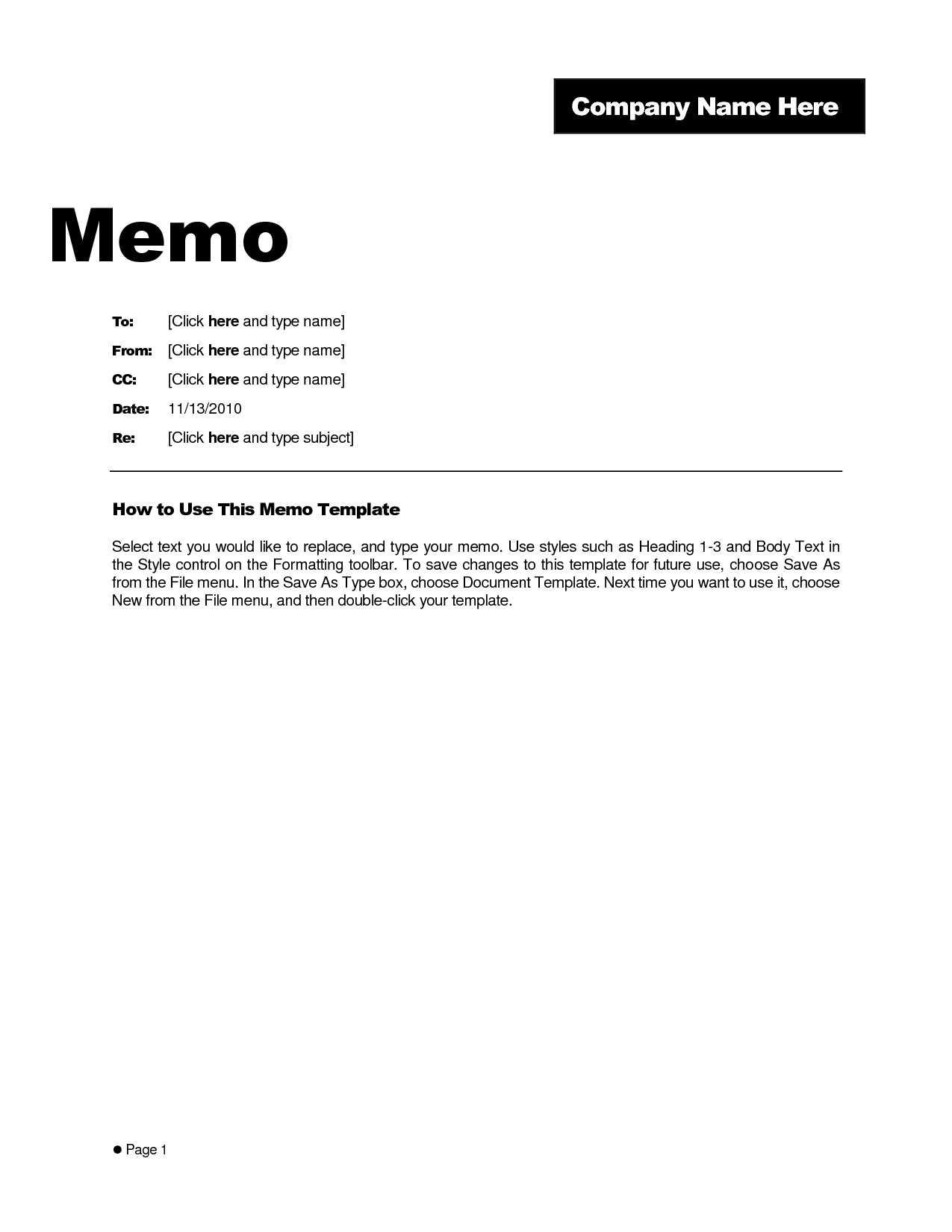 Memo Template Word 2010 - Cumed Inside Memo Template Word 2010