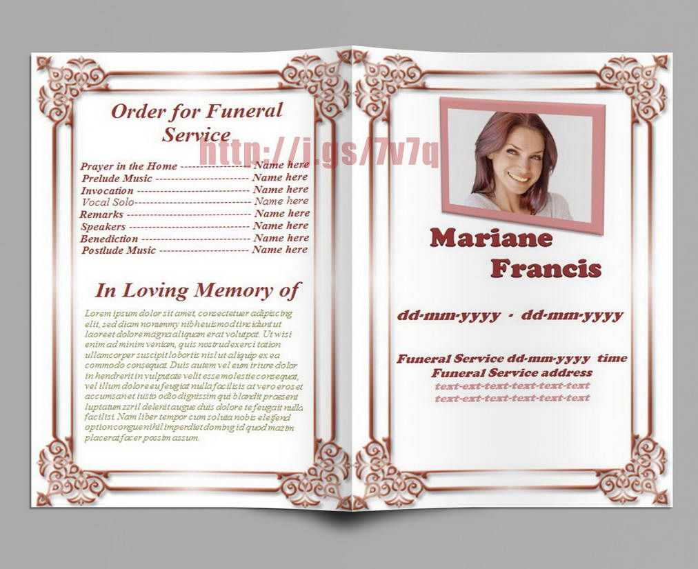 Memorial Service Program Template Download … | Memorial with regard to Remembrance Cards Template Free