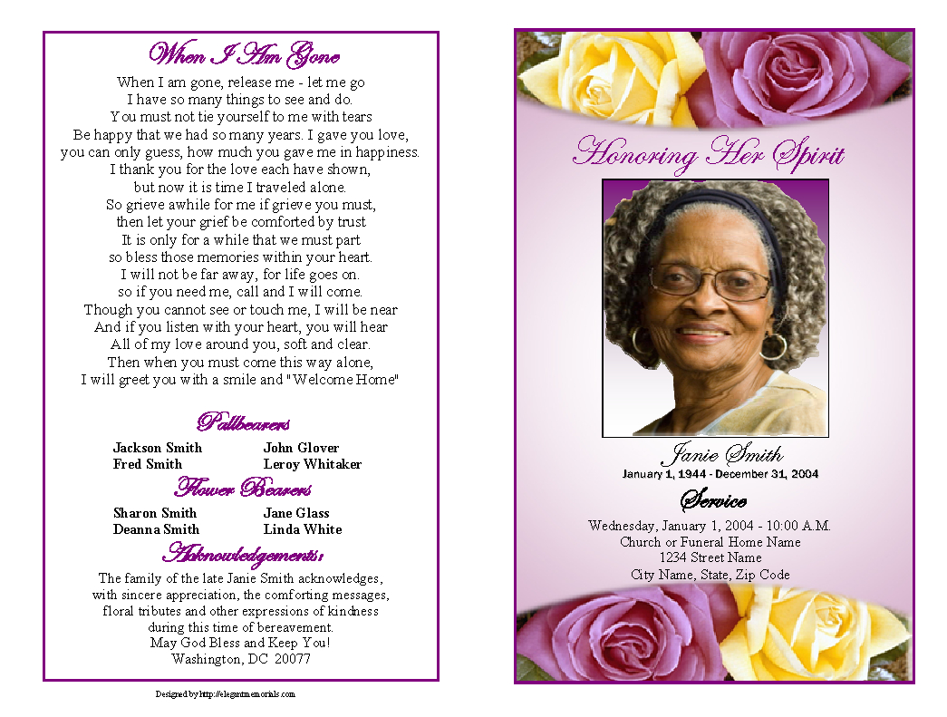 Memorial Service Programs Sample | Choose From A Variety Of inside Remembrance Cards Template Free