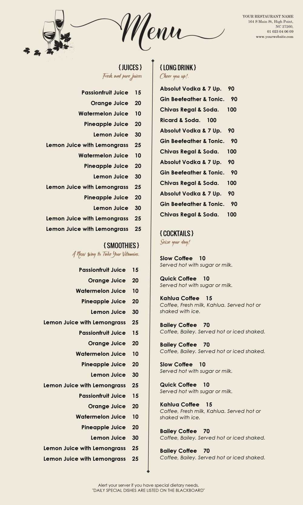 Menu - Id06 | Restaurants | Free Menu Templates, Menu regarding Free Cafe Menu Templates For Word
