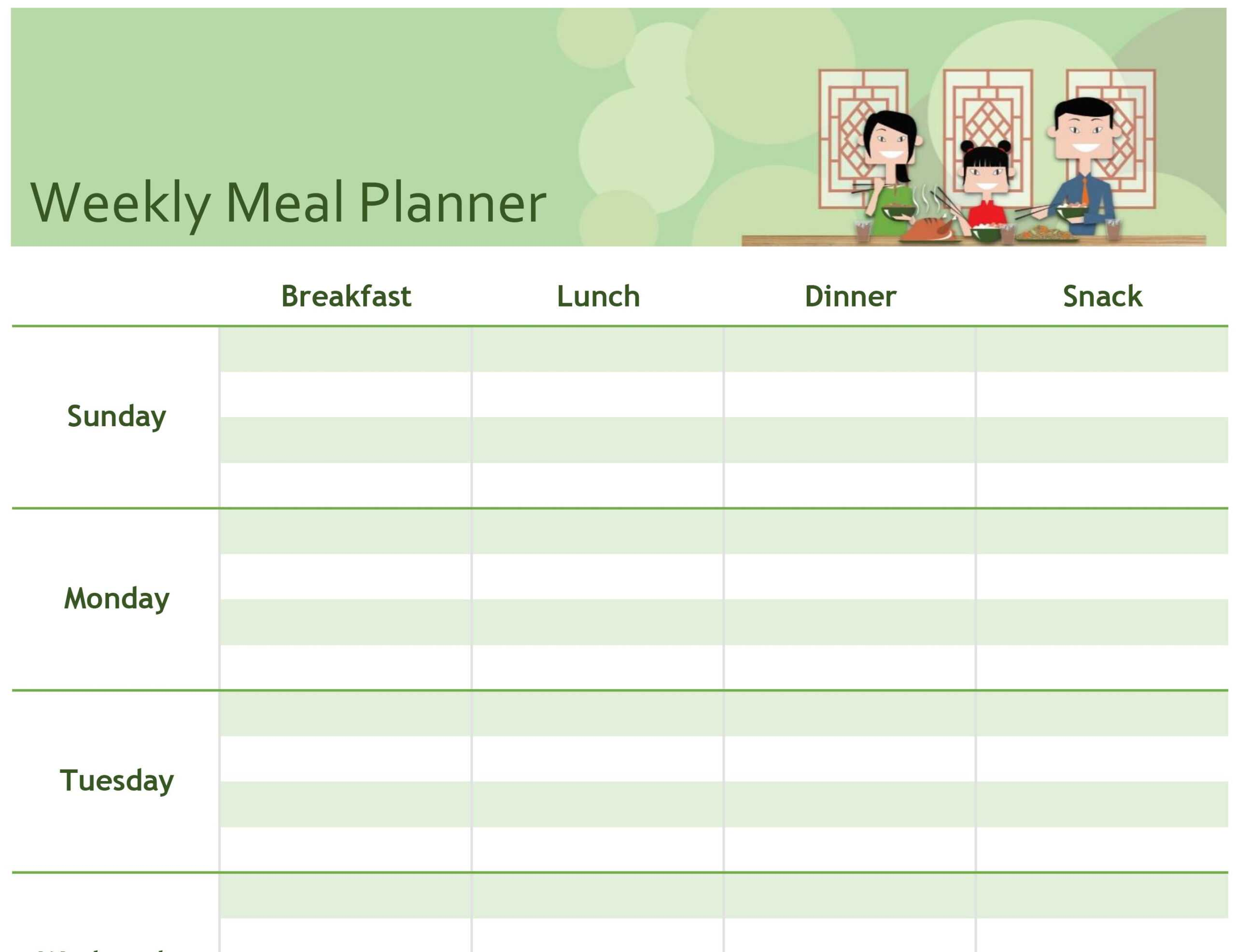 Menu Planning Template Word - Atlantaauctionco with regard to Weekly Meal Planner Template Word