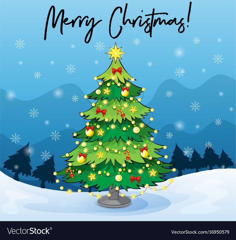 Merry Christmas Card Template With Christmas Tree regarding Adobe Illustrator Christmas Card Template