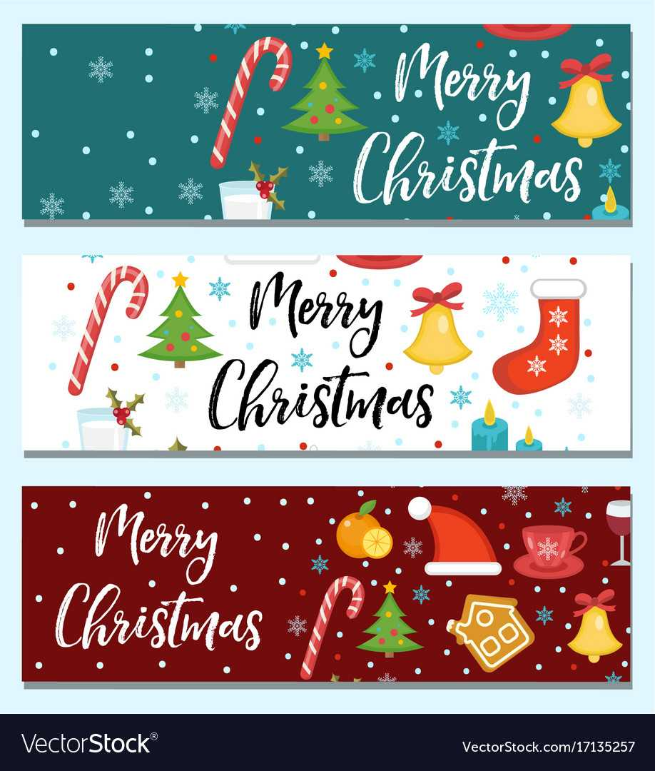 Merry Christmas Set Of Banners Template With With Merry Christmas Banner Template
