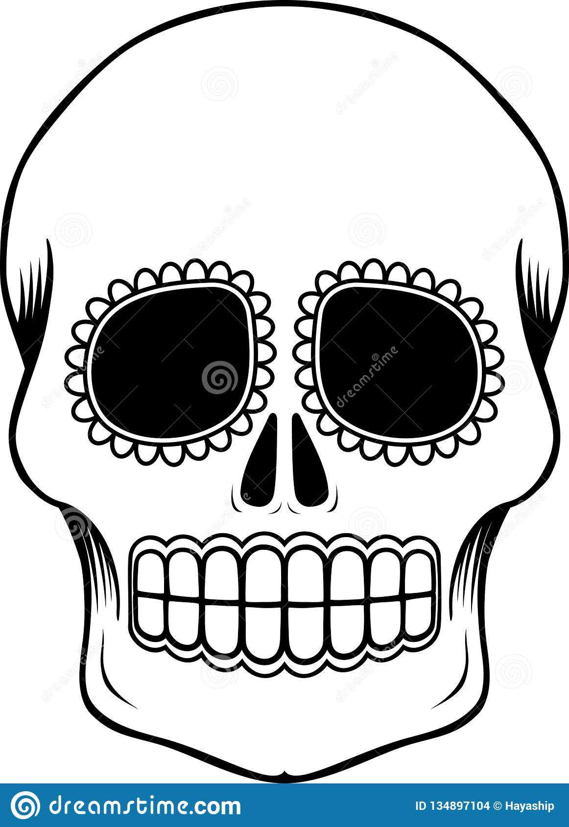 Mexican Sugar Skull Template Stock Vector - Illustration Of Within Blank Sugar Skull Template