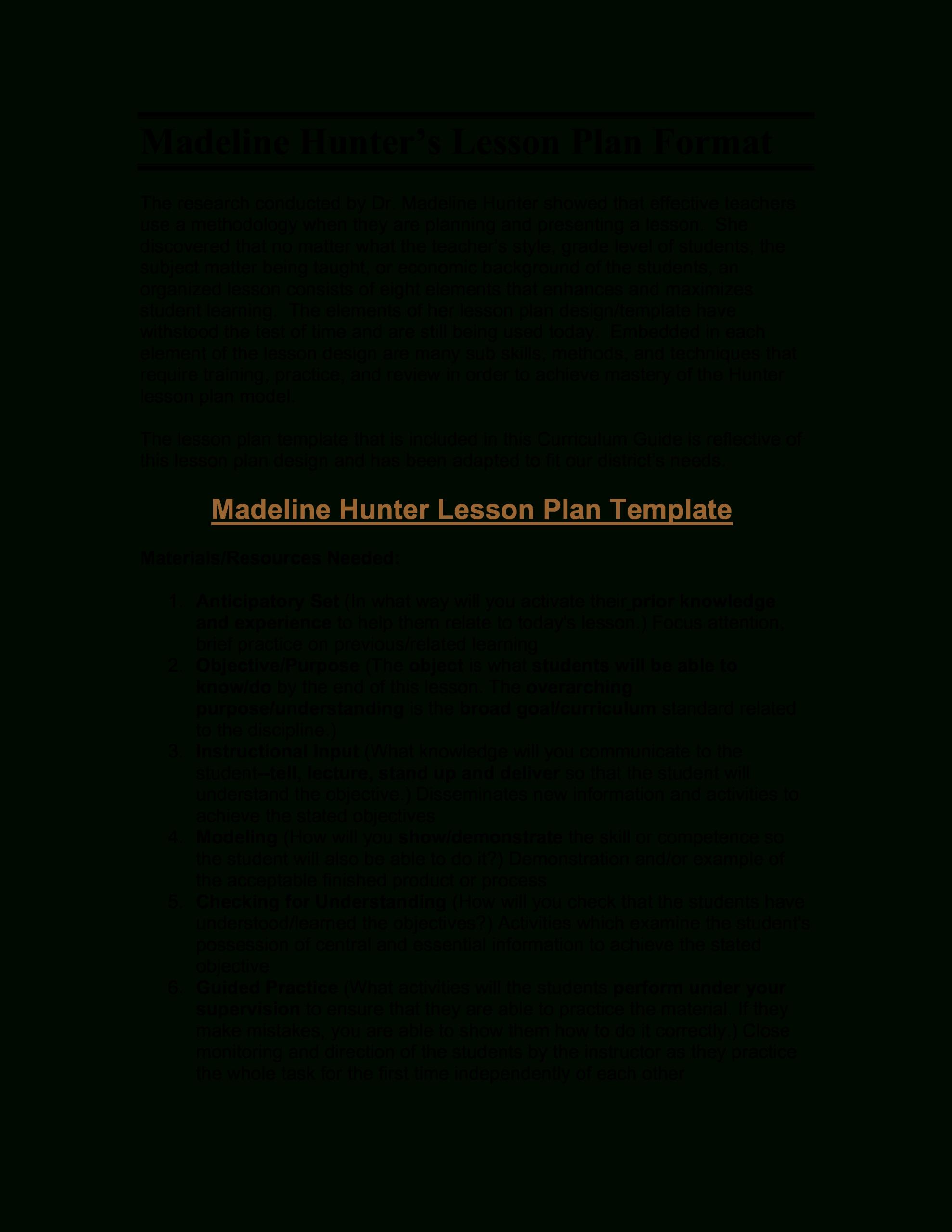 Microsoft Word - Madeline Hunter's Lesson Plan Format within Madeline Hunter Lesson Plan Blank Template