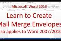 Microsoft Word Mail Merge Envelope (Word 2013/2016) for Word 2013 Envelope Template